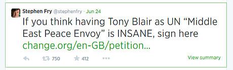 Stephen Fry sack blair