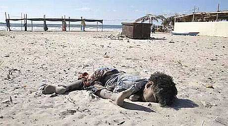 Dead boy in the sand