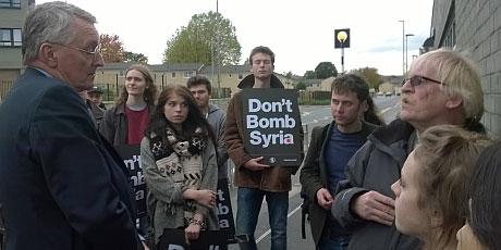 Hilary Benn protest